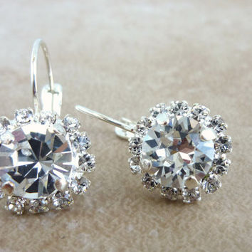 swarovski crystal drop earrings, lever back, clear crystal, not sabika, bridal