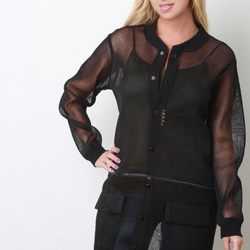Sheer Mesh Detachable Zip Jacket