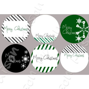 "Modern Happy Holidays or Christmas Labels Black and Green Striped for Gift Tags / Mason Jars - 2"" & 2.5"" round tags"