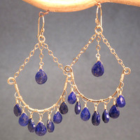 Venus 160 Lapis on hammered drop shapes