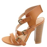 Strappy Buckled Single Sole Heels by Charlotte Russe - Cognac