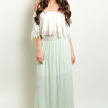 Mint Green Crochet Maxi Skirt