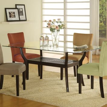 Bloomfield 5 piece dark espresso wood finish table base with rectangle glass table top dining set