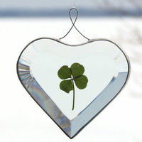 Beveled Glass Heart Ornament with a Genuine Four by SNLCreations