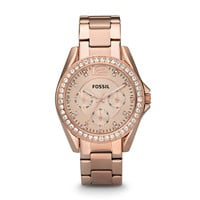 Riley Multifunction Rose-Tone Stainless Steel Watch