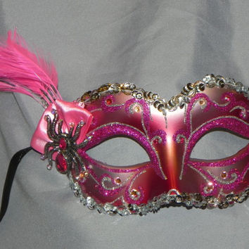 Spider Mask in Shades of Pink and Silver