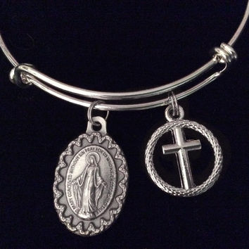 Silver Miraculous Mary Silver Expandable Charm Bracelet Bangle Adjustable Bangle Catholic Gift