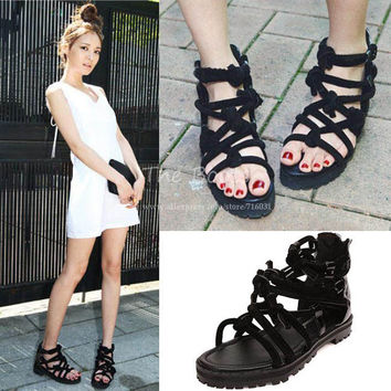 2013 New Fashion Summer Shoes Black Strappy Low Heel Flat Open Toe Cutout Ankle Strap High Gladiator Sandals Boots For Women