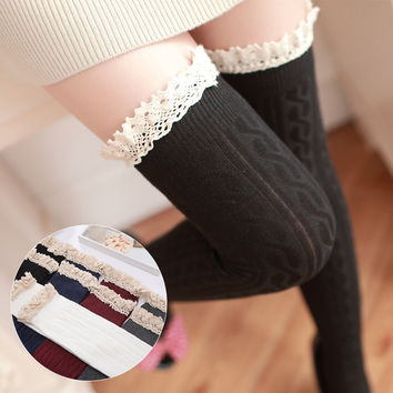 5 Colors Thigh High Socks Girls Stockings Lace Winter Warm Socks Women Sexy Stocking Medias Pantyhose Stockings Knee High Socks