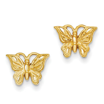 14K Diamond-cut Butterfly Earrings TC746
