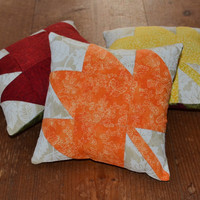 Fall Leaves Decorative Pillows - Bowl Fillers - Tucks - Ornies - Autumn - Quilted - Red - Orange - Yellow - Home Decor