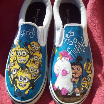 Despicable Me Minion Agnes and Unicorn Custom Painted Shoes.  Wearable Art. ANY SIZE