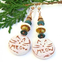 Meow Cat Earrings, Boho Ceramic Mykonos Czech Glass African Bead Agate Handmade Jewelry
