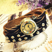 Wristwatch Handmade Wrist watches Vintage Retro Ladies Girls Womens Mens Leather Bangle Bracelet Quartz  Studded Band (WAT0010)