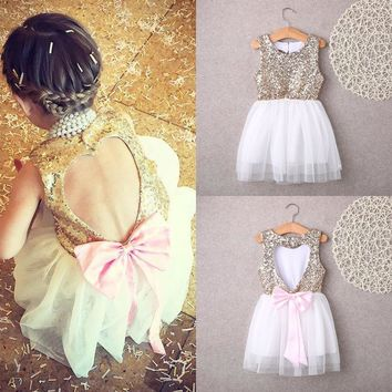 Kids Baby Flower Girl Sequins Princess Dress Bowknot Backless Party Gown Dresses