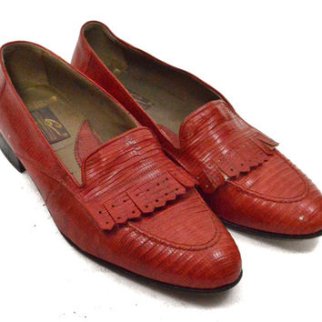 Vintage 80s Giorgio Brutini  Geniune Lizard Leather Red Loafers Dress Shoes Sz 8