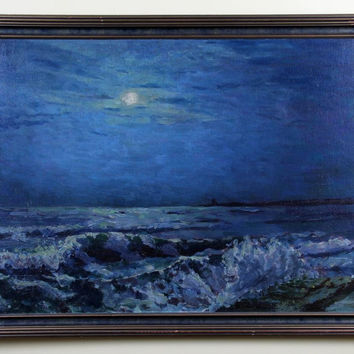 Original 1940s Circa Signed Nice Seascape Oil Painting on Board Luminescent Sky