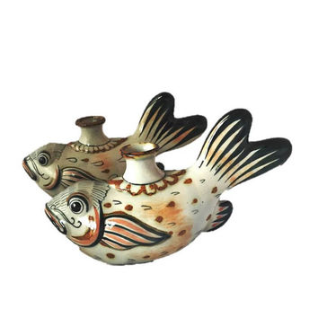 Tonala Candleholder // Pair of Mexican Pottery Candle Holders // Vintage Folk Art Fish Figurine // Erandi Mexico