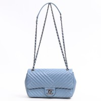 CHANEL V Stitch Chain Shoulder Bag Lambskin Leather Blue