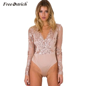 FREE OSTRICH 2017 Leotard Bodysuit Top Fashion Golden Sequin Bodysuit Women Transparent Sleeve V-neck Elegant Romper