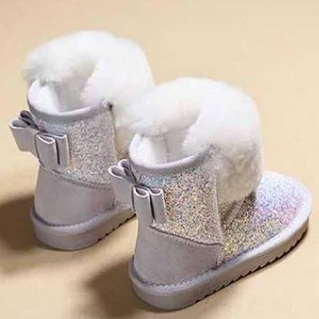 New White Round Toe Sequin Bow Fashion Ankle Boots