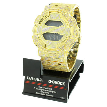 Gold G Shock Watch Simulated Diamonds Iced Out Custom Digital Analog GD100-1B