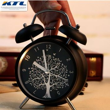 KTL 4 Inch Ultra-Stille Classic Alarm Clock Retro Double Bell Desk Table Alarm Clock Black With Luminova Drop Shipping