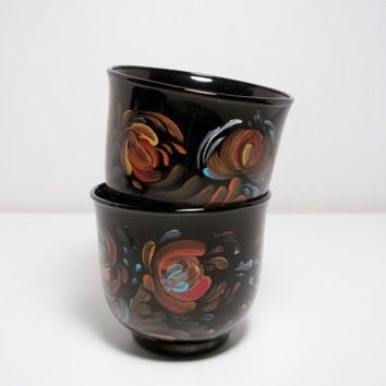 Black Ceramic Stoneware Cup Scandinavian.Swedish, Norwegian folk Art Style