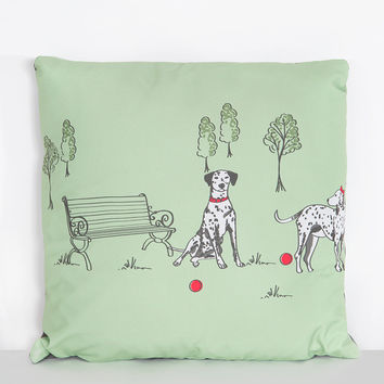 Green Dalmatian Print Cushion | Vintage Inspired Fashion | Lindy Bop