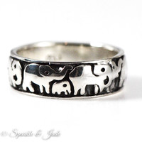 Sterling Silver Polished And Antiqued Elephants Ring