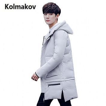 KOLMAKOV 2017 new winter fashion men's hooded Thick down jacket parkas,90% white duck down coat solid color windbreaker.M-3XL