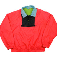 Vintage 90s OP Neon Windbreaker Jacket Pink/Black/Blue Mens Size Large