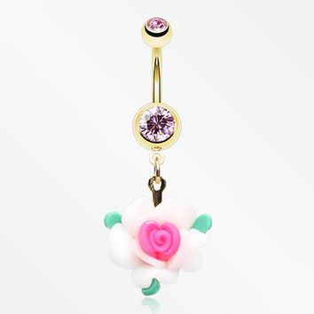 Golden Princess Fairytale Rose Blossom Belly Button Ring