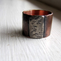 Mens ring of rustic copper and sterling