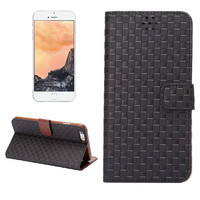 Hight Quality Black Grid Leather Card Hold Wallet Cases Cover for iPhone 5S 6 6S Plus Samsung Galaxy S6