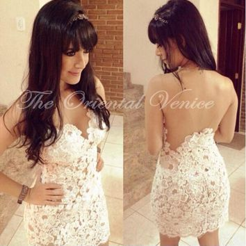 Sheer White Lace Appliques Short Cocktail Dresses 2017 Robe de Cocktail Party Dresses Illusion Open Back Cheap Homecoming Dress