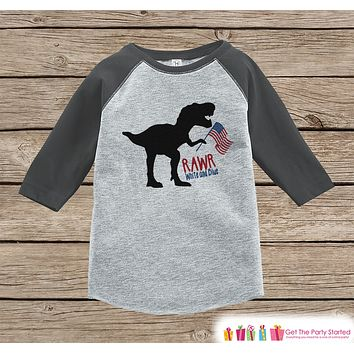 Boys 4th of July Shirt - Rawr White and Blue - Dinosaur 4th of July Onepiece or T-shirt - Boys or Girls Grey Raglan - Funny Patriotic Shirt
