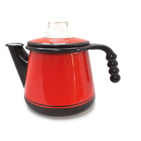 Vintage Black and Red Tea Kettle Tea Pot