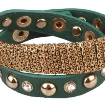 Green Leather Gold Plated Chain Design Spike Diamond Press Stud Adjustable Wrap Bracelet