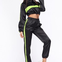 Flex on my Ex Satin Two Piece Athletic Jogger Set Black