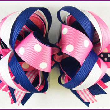 Boutique hair bow, Pink and navy bow, Preppy bow, Toddler hairbow, Boutique stacked hair bow, Big hair bow, Hair bows for girls