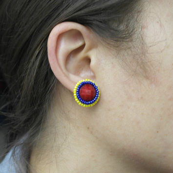 Venezuelan Colombian Ecuador Stud Earrings Blue Red Yellow Color Resin Cabochon Flat back Embroidered