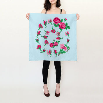 """Blue Scarf, Silk Scarf, Printed Scarf, Roses Scarf, Floral Scarf, Silk Scarf Square, Silk Scarf Blue, Pink and Blue, Spring Scarf, 26"""" x 26"""""""