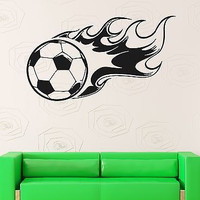 Wall Stickers Vinyl Decal Fire Soccer Ball Sports Wall Decor Mural Vinyl (ig015)