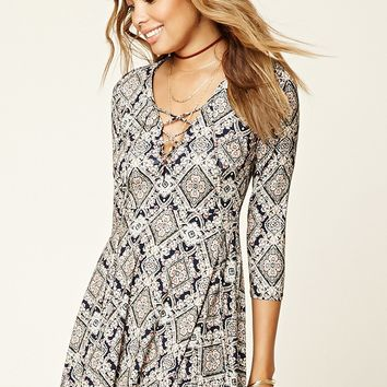 Ornate Print Lace-Up Dress