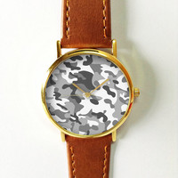 Camouflage Watch , Women Watches,  Leather Watch, Men's Watch,  Boyfriend Watch, Ladies Watch, Silver Gold Rose Watch, Unique, Gift,