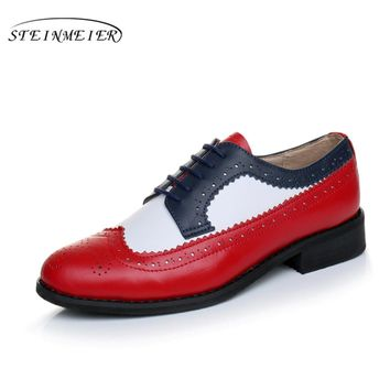 women Genuine leather oxford shoes handmade blue Red white sping vintage flat British style oxfords shoes for women with fur