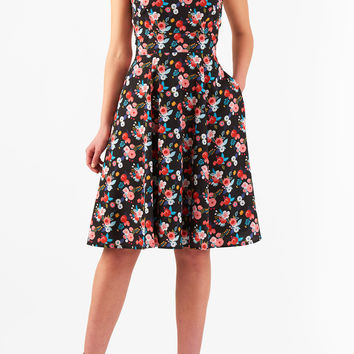 Floral print fit-and-flare crepe dress