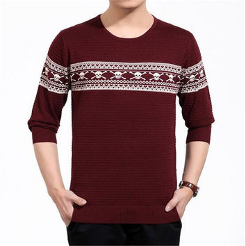 O-neck sweater knitted plus size loose pullover men sweater skull print