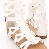 White Gladiator Sandals Faux Leather